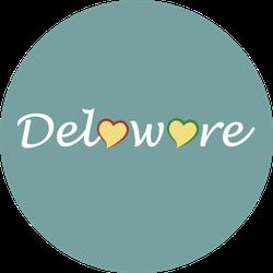 Delaware Heart Lettering Teal Sticker
