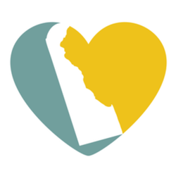 Delaware Map And Heart Logo Sticker