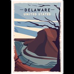 Delaware Retro Poster Sticker