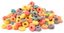 Delicious And Nutritious Fruit Cereal Loops In A Pile Sticker
