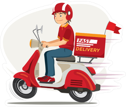 Delivery Man Scooter Motorcycle Sticker