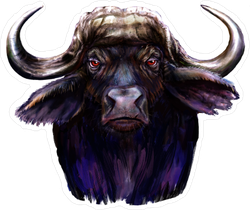 Demon Buffalo Painting Sticker
