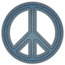 Denim Peace Sign Sticker
