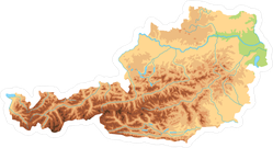 Detailed Austria Map Sticker