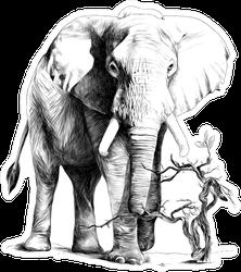 Detailed Elephant Sticker