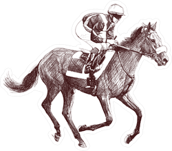 Detailed Illustration Of A Racing Horse And Jockey Sticker