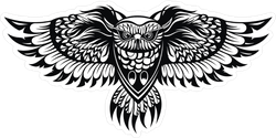 Detailed Owl Spreading His Wings Sticker