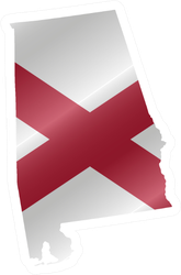 Detailed Waving Flag Map Of Alabama Sticker