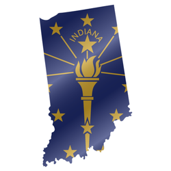 Detailed Waving Flag Map Of Indiana Sticker