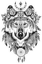 Detailed Wolf Boho Illustration Sticker