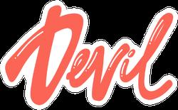 Devil Calligraphic Design Sticker