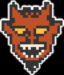 Devil's Head Pixel Illustration Sticker