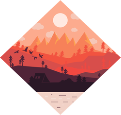 Diamond Forest Lake Camping Sunset Sticker
