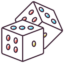 Dice With Colorful Dots Illustration Sticker