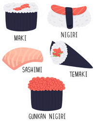 Different Types Of Sushi Sticker