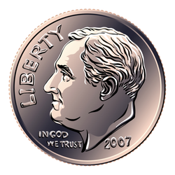 Dime Coin Sticker