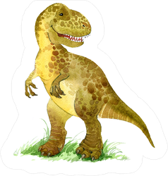 Dinosaur in Grass Watercolor Illustration Sticker