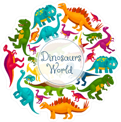 Dinosaurs World Poster Sticker