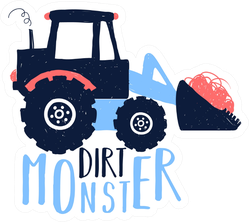 Dirt Monster Cute Tractor Illustration Sticker