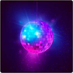 Disco Ball With Bright Rays And Bokeh Sticker