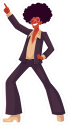 Disco Dancer with Afro Sticker