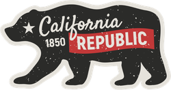 Distressed California Republic Bear Sticker