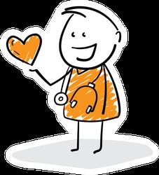 Doctor Hand Drawn Doodle Line Art In Orange Medical Sticker
