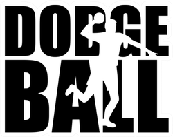Dodgeball Word With Player Silhouette Sticker
