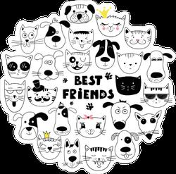Dog And Cat Best Friends Sticker