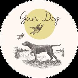 Dog. Hunting. Gun Dog Illustration With Landscape Sticker