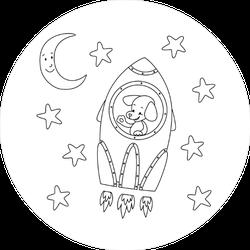 Dog in Spaceship Sticker