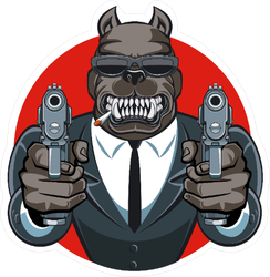 Dog In Suit Aiming Guns Sticker