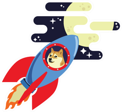 Dogecoin to the Moon Sticker