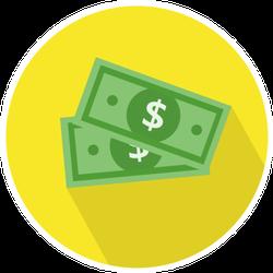 Dollar Bills Yellow Circle Sticker