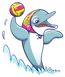 Dolphin Playing Water Polo Sticker