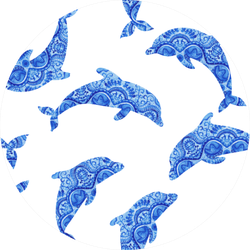 Dolphins Seamless Pattern Background Sticker