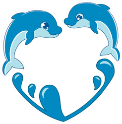 Dolphins That Swim, Jump On The Waves Heart Sticker
