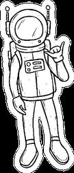 Doodle Astronaut With Shaka Hand Sticker