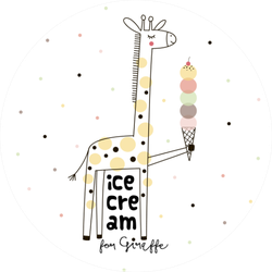 Doodle Giraffe With Ice Cream Sticker