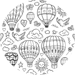Doodle Hot Air Balloons Pattern Sticker