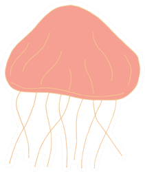 Doodle Jellyfish In Pink Sticker