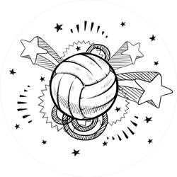 Doodle Style Volleyball Sports Sticker
