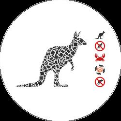 Dot Mosaic Based On Kangaroo Sticker