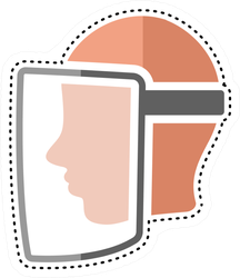 Dotted Line Face Visor Icon Medical Sticker