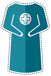 Dotted Line Surgical Gown Icon Sticker