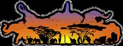 Double Exposure Elephants and Desert Landscape Sticker