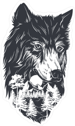 Double Exposure Forest And Wolf Sticker