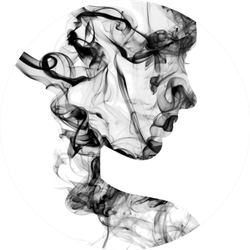Double Exposure Portrait Of Young Woman And Smoke Sticker