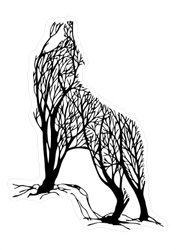 Double Exposure Wolf Trees Sticker