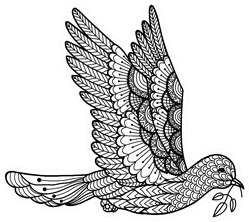 Dove Carrying Leaves Line Art Coloring Book Sticker